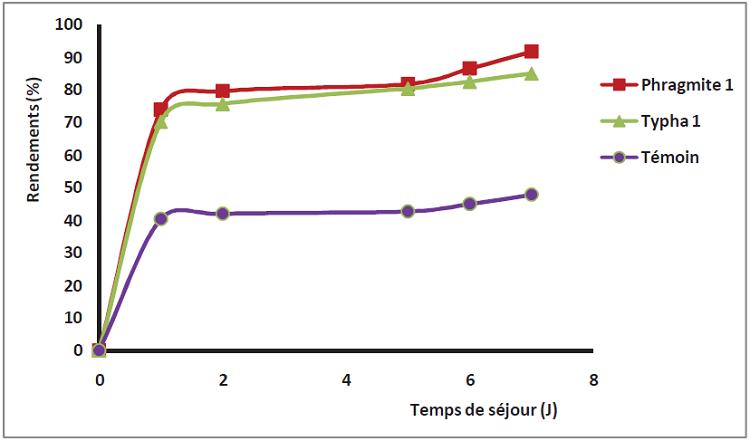 Rendements d'élimination du zinc sur les filtres plantés et le témoin en fonction du temps de séjour