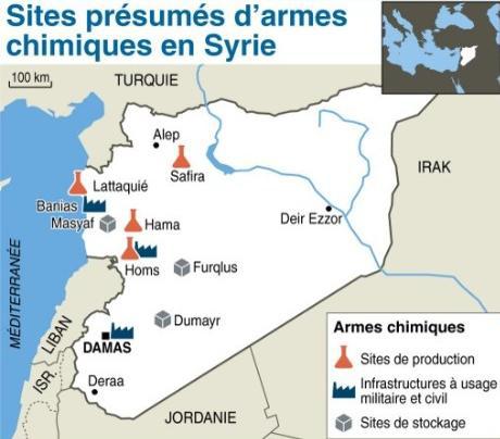 Sites présumés d'armes chimiques en Syrie, réalisée en 2013