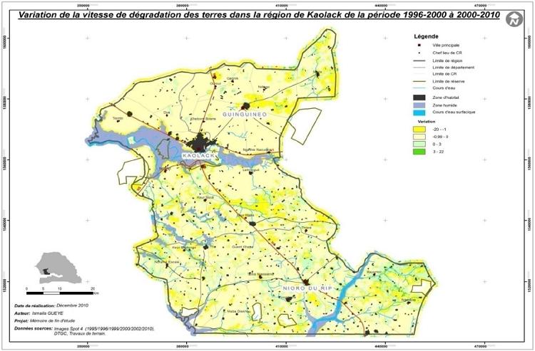 Variation de la vitesse annuelle dans la région de Kaolack de la période 1996-2000 à 2000-2010