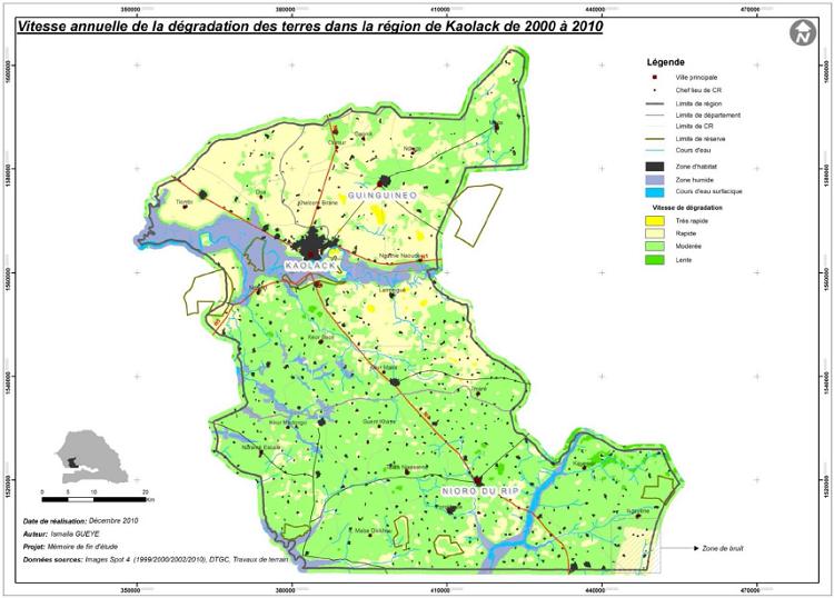 Vitesse annuelle de la dégradation des terres dans la région de Kaolack de 2000 à 2010